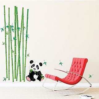 EJA Art Panda With Bamboo Sticks Covering Area 130 x 120 Cms Multi Color Sticker
