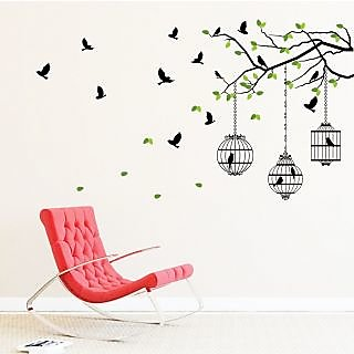 EJA Art Flying Birds With Case Covering Area 150 x 85 Cms Multi Color Sticker