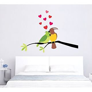 EJA Art Love Birds Covering Area 90 x 70 Cms Multi Color Sticker