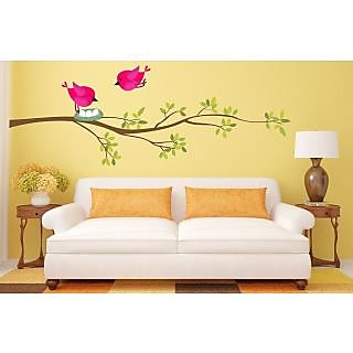 EJA Art Sunset Love Bird Covering Area 90 x 35 Cms Multi Color Sticker