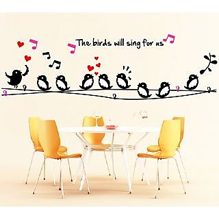 EJA Art Twitter Singing Covering Area 150 x 48 Cms Multi Color Sticker