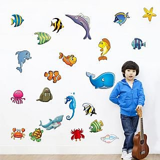 EJA Art Sea Family Covering Area 120 x 120 Cms Multi Color Sticker