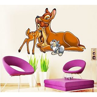 EJA Art Bambis Mother Bambi Covering Area 80 x 60 Cms Multi Color Sticker