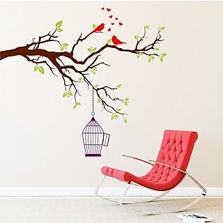 EJA Art Two Red Singing Bird With Case Covering Area 150 x 136 Cms Multi Color Sticker