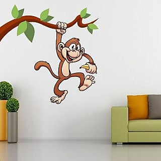 EJA Art Hangging Monkey with Banana Covering Area 75 x 75 Cms Multi Color Sticker