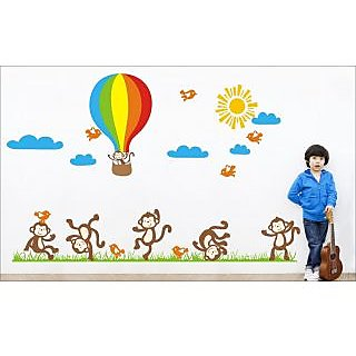 EJA Art Team Monkey Covering Area 150 x 90 Cms Multi Color Sticker