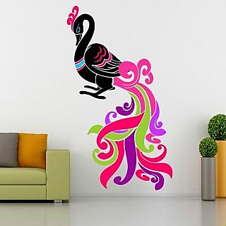 EJA Art Colorful Peacock Covering Area 122 x 70 Cms Multi Color Sticker