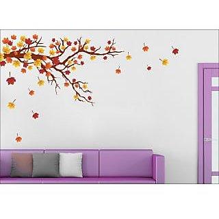 EJA Art Autaum Leaf Wall Sticker (51 X 30Inch Covering Area )