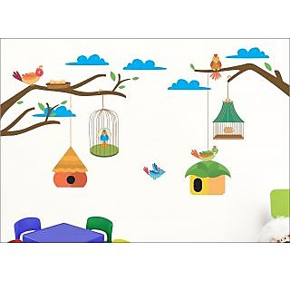 EJA Art Birdcase Wall Sticker (60 X 30Inch Covering Area )