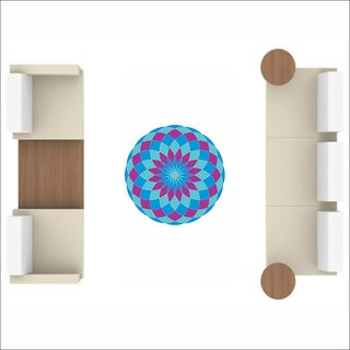 EJA Art Art No FS04 Jasmine and Blue Rangoli Floor Sticker 24x24 Inch
