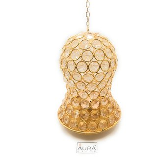 AuraDecor Crystal Hanging Gold Finish Tealight Holder With A Tealight
