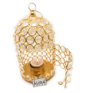 AuraDecor Cage Crystal Gold Finish Tealight Holder With A Tealight