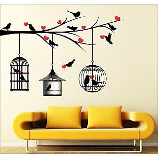 EJA Art Love Birds With Hearts Covering Area 125 x 85 Cms Multi Color Sticker