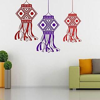 EJA Art Diwali Hanger Covering Area 75 x 60 Cms Multi Color Sticker