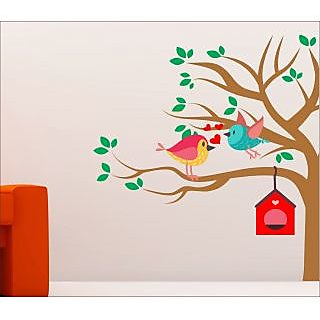 EJA Art Love Bird With Hut Wall Sticker 48 X 48Inch Covering Area