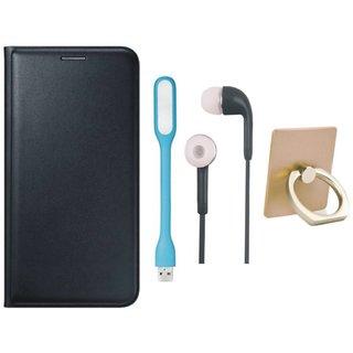 Lenovo K5 Note Flip Cover with Ring Stand Holder, Earphones and USB LED Light