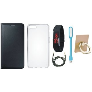 Lenovo K5 Note Leather Cover with Ring Stand Holder, Silicon Back Cover, Digital Watch, USB LED Light and AUX Cable