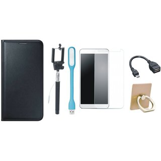 Lenovo K5 Note Flip Cover with Ring Stand Holder, Free Selfie Stick, Tempered Glass, LED Light and OTG Cable