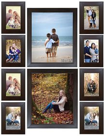 CRETE Wall Hanging Brown Photo Frame Sets - Pack of 10