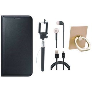 Lenovo K6 Power Premium Leather Cover with Ring Stand Holder, Selfie Stick, Earphones and USB Cable