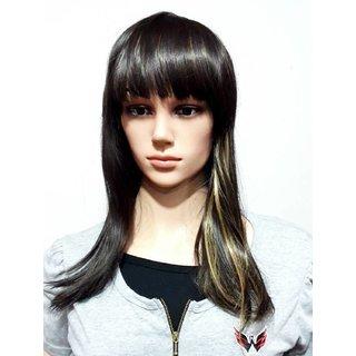 Tahiro Natural Brown Human Hair With Golden Highlight Hair Wig  - Pack Of 1