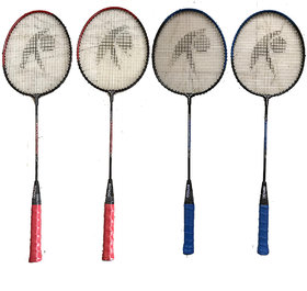 Hipkoo Crash Rackets (Set Of 4) Blue  Red Multicolor Strung Badminton Racquet