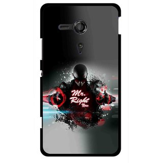 Snooky Printed Mr.Right Mobile Back Cover For Sony Xperia SP - Multicolour