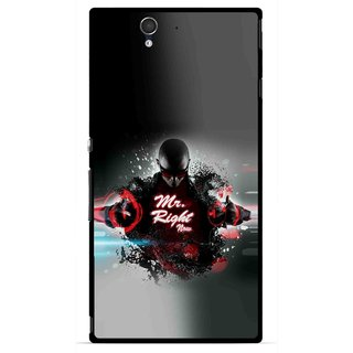 Snooky Printed Mr.Right Mobile Back Cover For Sony Xperia Z - Multicolour