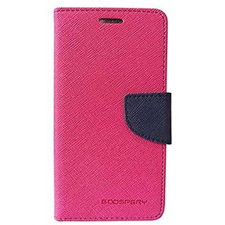 BRAND FUSON Stylish Luxury Mercury Magnetic Lock Diary Wallet Style Flip Cover Case For Vivo Y55 - Pink