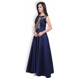 Active Womens Tafeta Embroidary Work Designer Stright Gown Free SizeRedG048Lina Blue