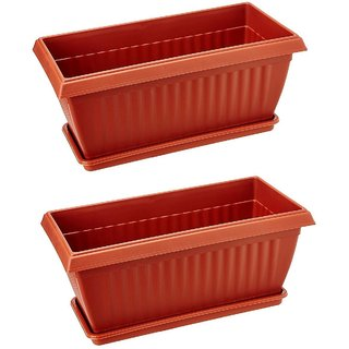 Rectangle Planters and Trays - Plastic Pots (Pack of Two)