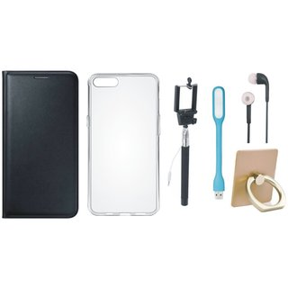 Lenovo K5 Note Stylish Cover with Ring Stand Holder, Silicon Back Cover, Selfie Stick, Earphones and USB LED Light