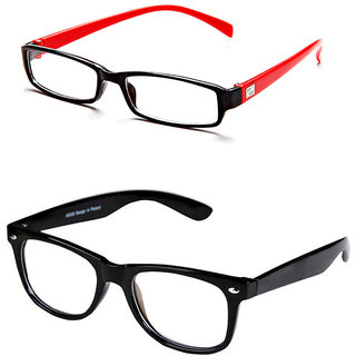 Magjons Clear Wayfarer And Red Full Rim Eyewear Frame Combo Of 2 With Free Black Hard Case 1P.C. Box