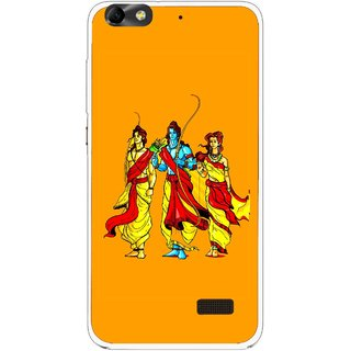 Snooky Printed God Rama Mobile Back Cover For Huawei Honor 4C - Orrange