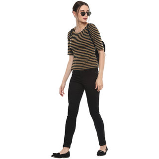SOIE Brown Striped Boat Neck Crop Tops  For Women
