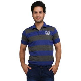 Rags Style Striped Men's, Boys Polo Neck Blue, Grey T-Shirt