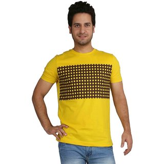 Rags Style Printed Men's Round Neck Yellow T-Shirt