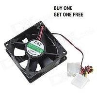 PC Computer Desktop Cabinet Cooling Fan - Black (80mm X 80mm) Pack Of 2