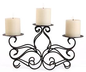 Hosley Decorative Scroll Metal Candelabrum 32cm long with 3 Bonus Pillar Candles