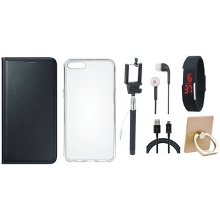 Lenovo K5 Note Leather Flip Cover with with Ring Stand Holder, Silicon Back Cover, Selfie Stick, Digtal Watch, Earphones and USB Cable