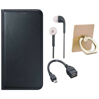 Lenovo K6 Note Flip Cover with Ring Stand Holder, Earphones and OTG Cable