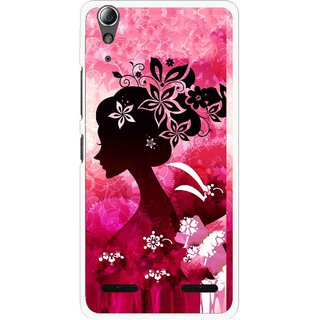 Snooky Printed Pink Lady Mobile Back Cover For Lenovo A6000 - Pink