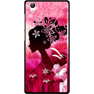 Snooky Printed Pink Lady Mobile Back Cover For Vivo Y51L - Pink