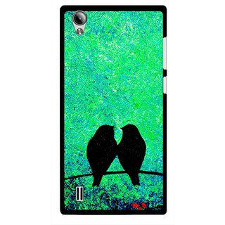 Snooky Printed Love Birds Mobile Back Cover For Vivo Y15 - Green