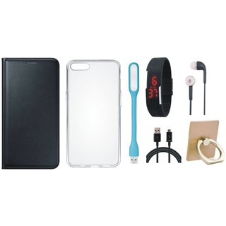 Lenovo K6 Note Flip Cover with Ring Stand Holder, Silicon Back Cover, Digital Watch, Earphones, USB LED Light and USB Cable