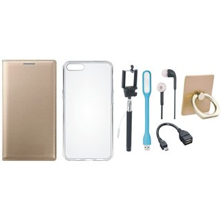 Lenovo K5 Note Leather Cover with Ring Stand Holder, Silicon Back Cover, Selfie Stick, Earphones, OTG Cable and USB LED Light