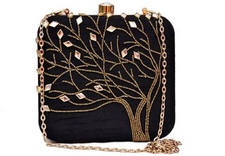 Sugarcrush Handcrafted Party Wear Hand Embroidered Box Clutch Bag Purse For Bridal, Casual and Wedding Must Buy for Girl