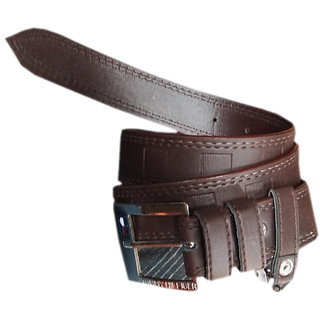Z Decor Deal Brown Leatherite Belt For Mens (Synthetic leather/Rexine)