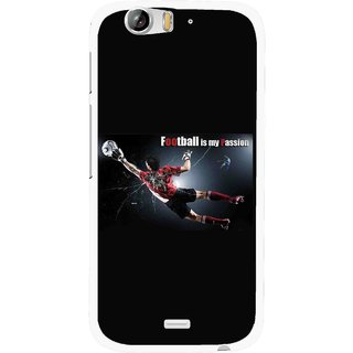 Snooky Printed Football Passion Mobile Back Cover For Micromax Canvas Turbo A250 - Black
