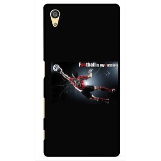 Snooky Printed Football Passion Mobile Back Cover For Sony Xperia Z5 Plus - Black